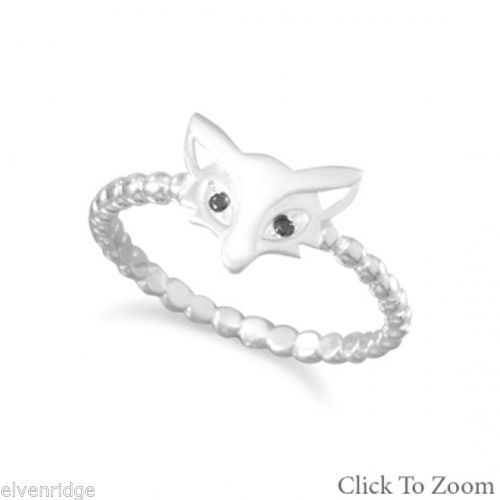 Cute Satin Finish Fox Ring Sterling Silver