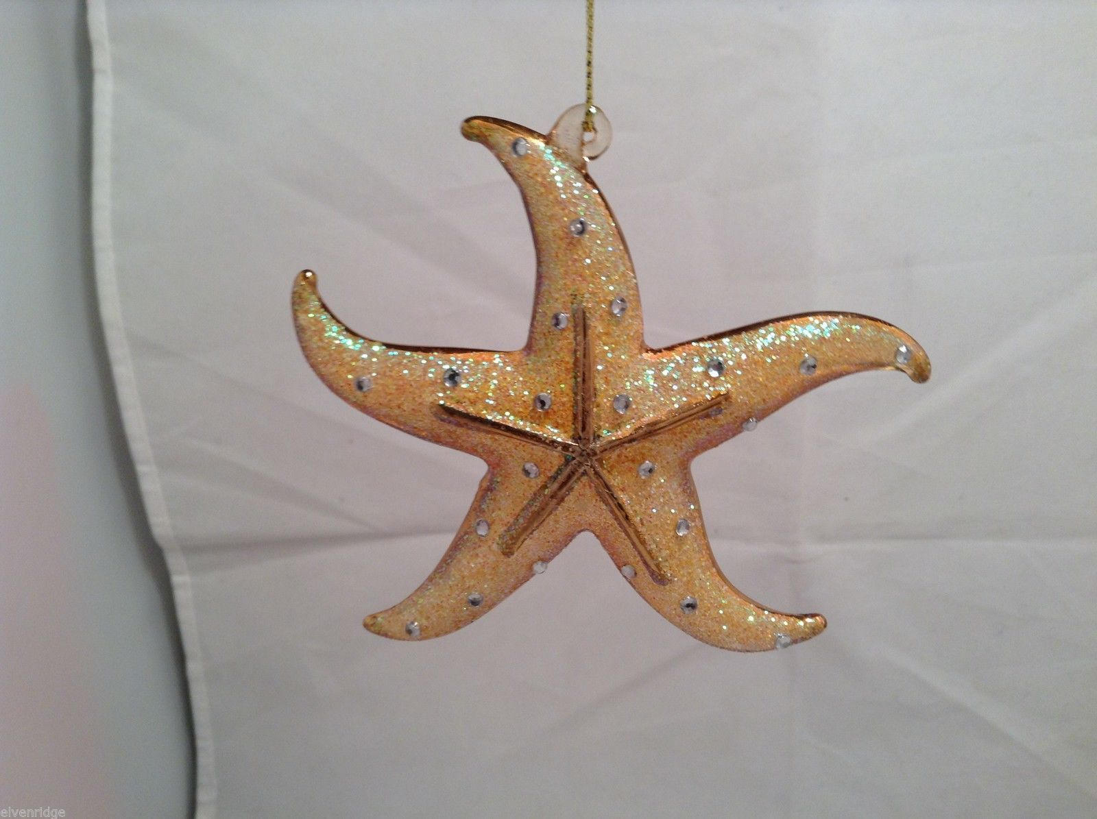 Dazzling Gold Tone Frosted Holiday Starfish Ornament withTag choice of color
