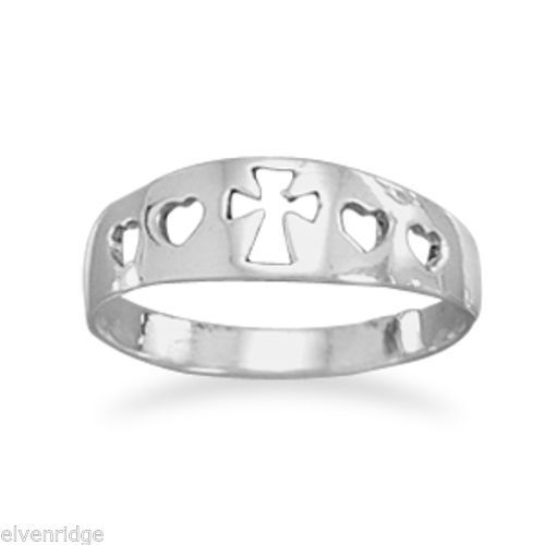Cut Out Heart/Cross Ring Sterling Silver