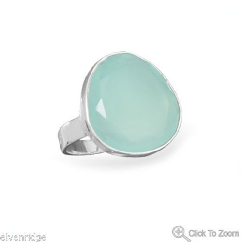 Freeform Sea Green Chalcedony Ring Sterling Silver