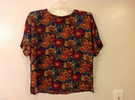 Nicola Women's Size L Blouse Top Floral Daisy Print in Red Green Yellow Purple