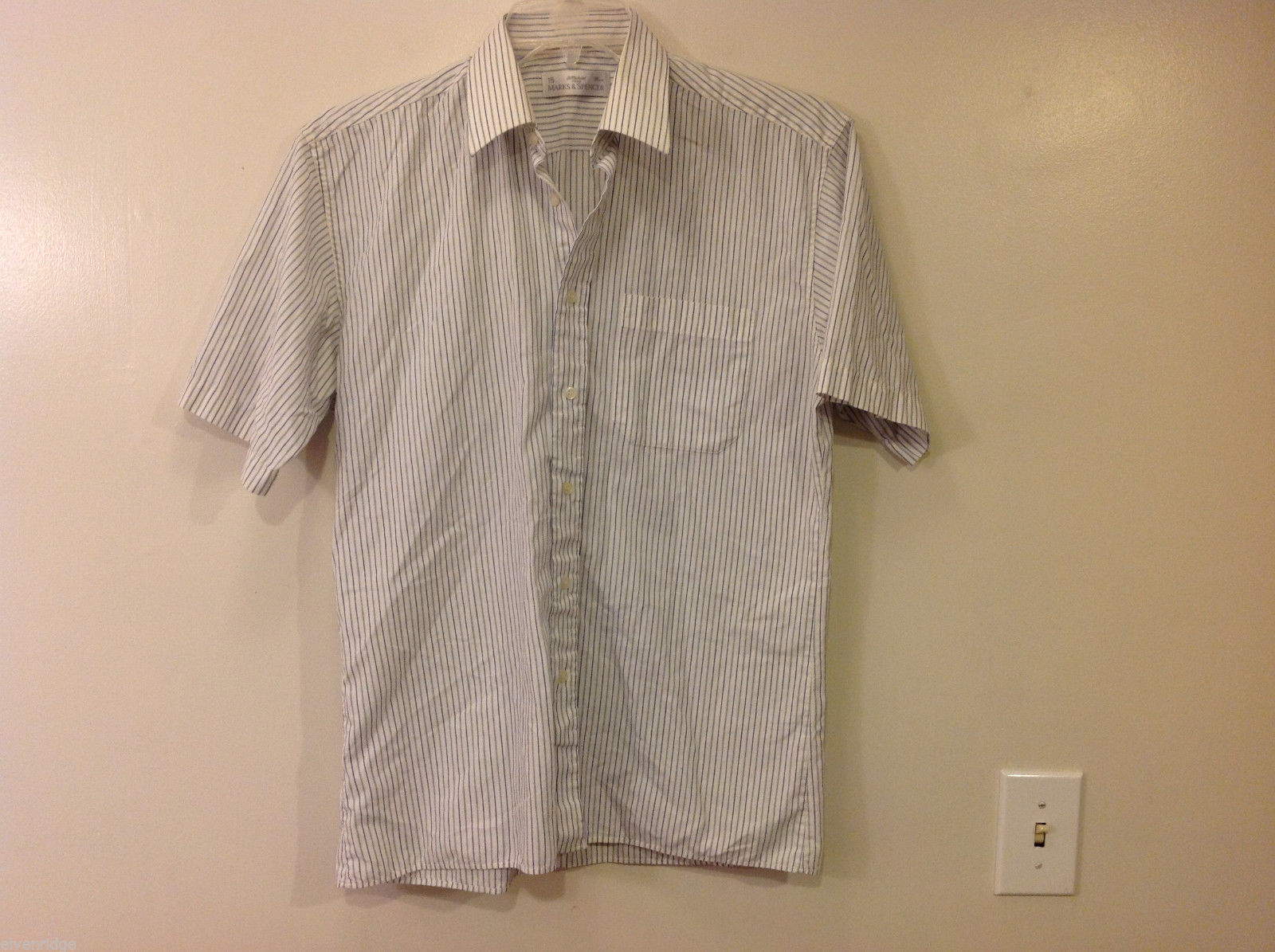 Marks & Spencer Men's Size L Shirt White Button-Down Blue Stripes Short Sleeves