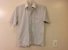 Marks & Spencer Men's Size L Shirt White Button-Down Blue Stripes Short Sleeves