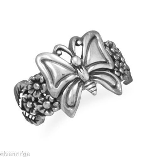 Oxidized Butterfly and Flower Ring Sterling Silver