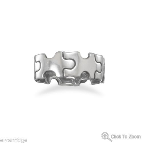 Oxidized Puzzle Piece Ring Sterling Silver