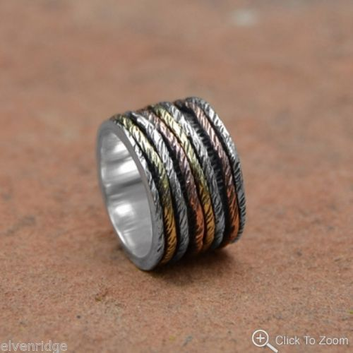 Oxidized Ring with Tri Tone Bands Sterling Silver