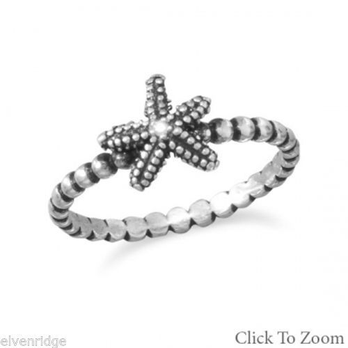 Oxidized Starfish Ring Sterling Silver