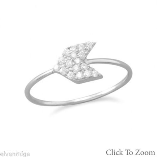 Rhodium Plated CZ Arrow Ring Sterling Silver