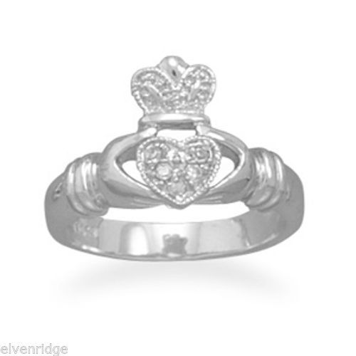 Rhodium Plated CZ Claddagh Ring Sterling Silver