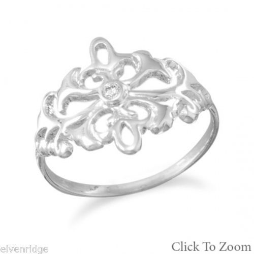 Polished Ornate Scroll Design Ring Sterling Silver