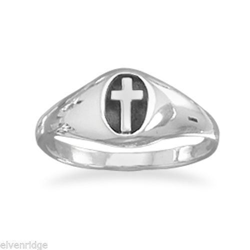 Small Oxidized Oval Ring with Cross Sterling Silver