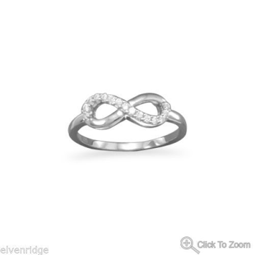 Rhodium Plated CZ Infinity Ring Sterling Silver