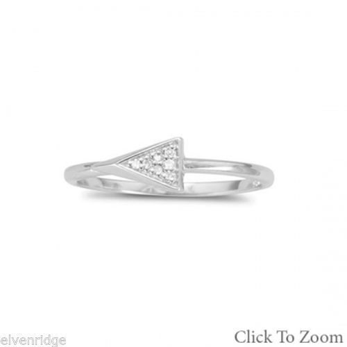 Rhodium Plated Small Triangle Ring with Diamonds Sterling Silver