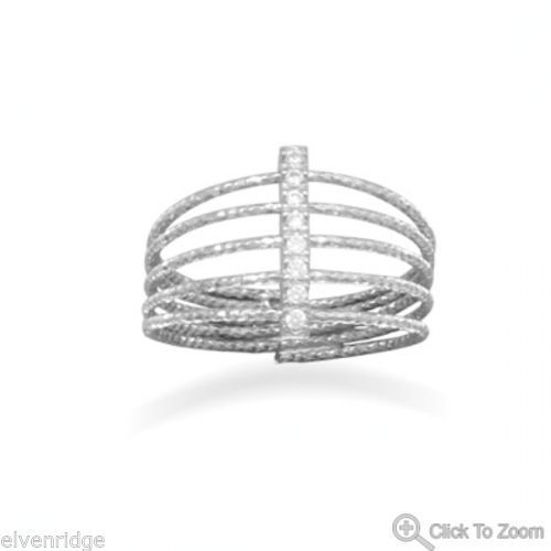 Rhodium Plated Multirow Twisted Wire Ring with CZ Bar Sterling Silver