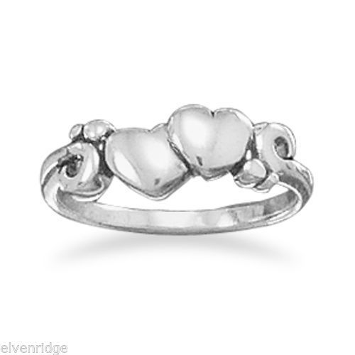 Ring with Two Hearts and Swirl Design Sterling Silver