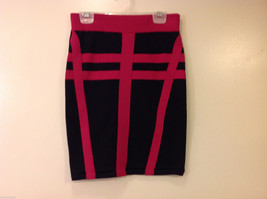 Say What Women's Size S Black Skirt Caged-Look Pink Contrast Bands Stretchy Knit