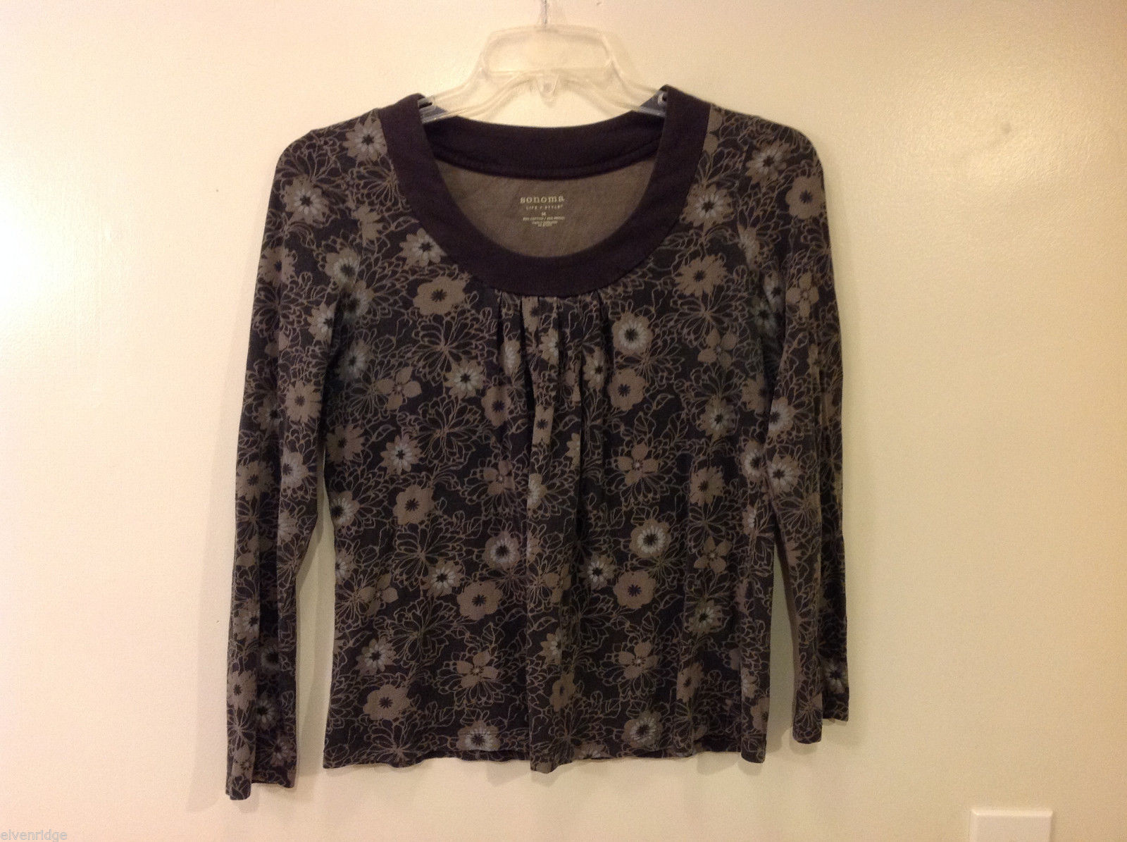 Sonoma Women's Size M Top Pleated Trapeze Long-Sleeve Floral Print Gray & Brown