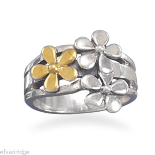 Two Tone Flower Ring Sterling Silver
