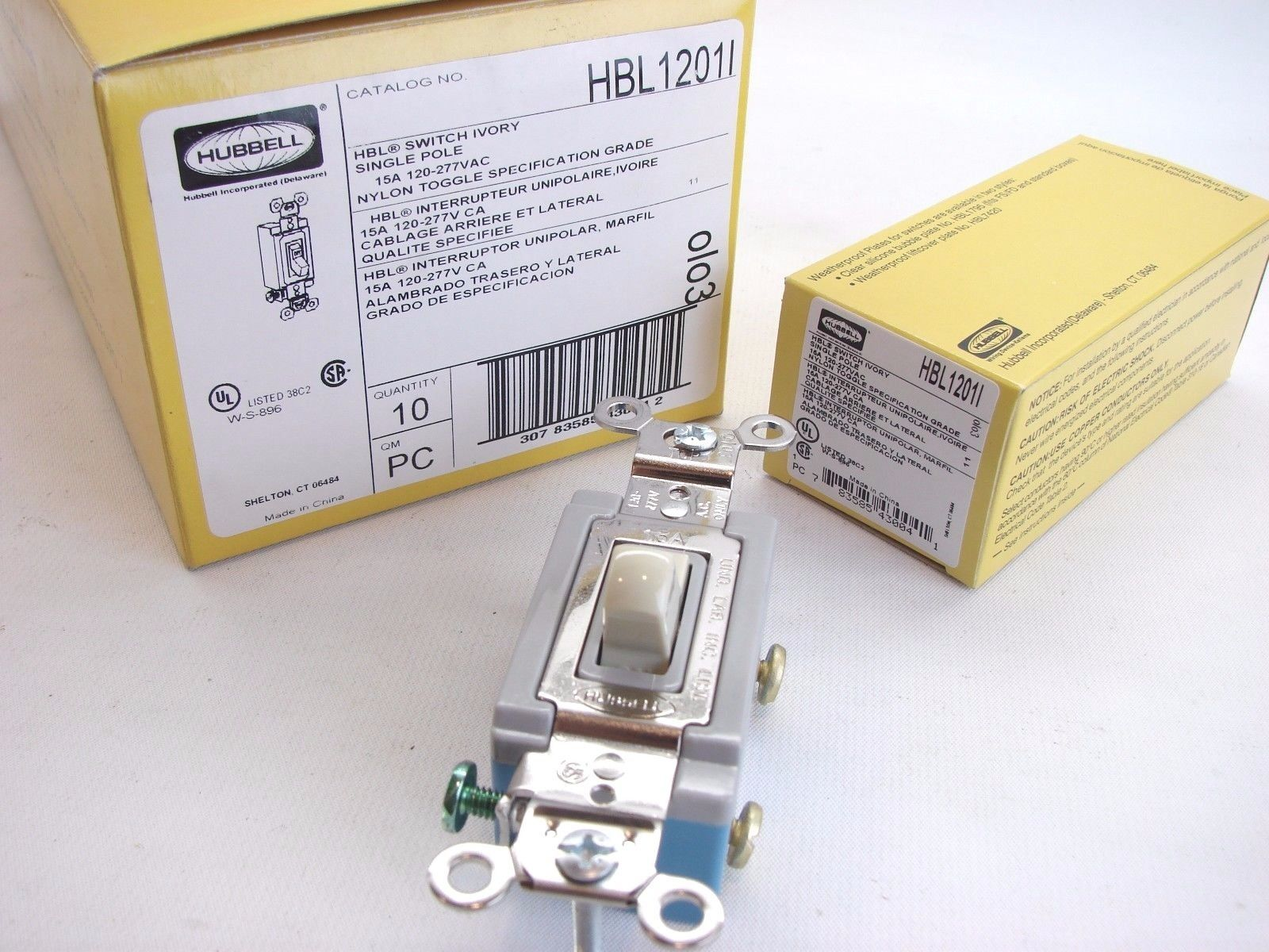 Hubbell Hbl1201i Ivory Single Pole Spec And 48 Similar Items Toggle Switch Grade 120 277 15a Box Of 10