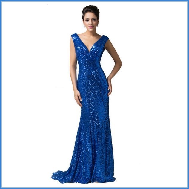 Sapphire Blue Sequined Lace Up Back Long Train Mermaid Evening Prom Gown