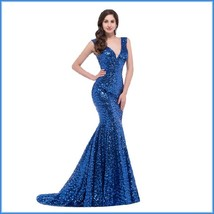 Sapphire Blue Sequined Lace Up Back Long Train Mermaid Evening Prom Gown image 2