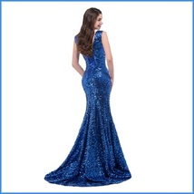 Sapphire Blue Sequined Lace Up Back Long Train Mermaid Evening Prom Gown image 3