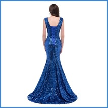 Sapphire Blue Sequined Lace Up Back Long Train Mermaid Evening Prom Gown image 4