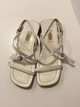 Talbots Walker White Leather Strappy Sandals Ankle Buckle Strap Womens Sz 6.5 M - $19.98
