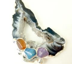 Agate geode druzy gemstone silver pendant white black swirls 437b0e2b thumb200