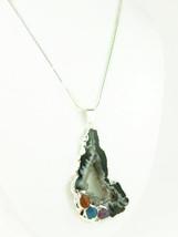 Agate geode druzy gemstone silver pendant white black swirls 708cf2cd thumb200