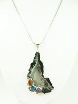 Agate geode druzy gemstone silver pendant white black swirls 46778971 thumb200