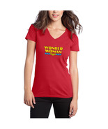 Wonder Woman Sexy Women's Logo V-Neck Red T-Shirt Size S-3XL - $16.47
