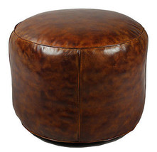 Awesome Soccerball Leather Round Stool.22'' x 18''H. - $490.05
