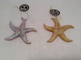 Dazzling Gold Tone Frosted Holiday Starfish Ornament withTag choice of color image 2