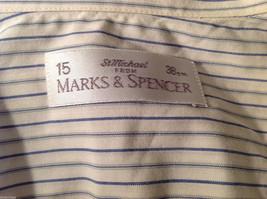 Marks & Spencer Men's Size L Shirt White Button-Down Blue Stripes Short Sleeves image 7