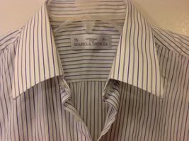 Marks & Spencer Men's Size L Shirt White Button-Down Blue Stripes Short Sleeves image 2