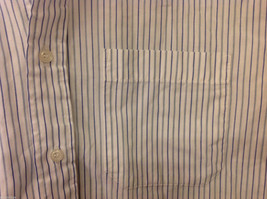 Marks & Spencer Men's Size L Shirt White Button-Down Blue Stripes Short Sleeves image 3