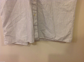 Marks & Spencer Men's Size L Shirt White Button-Down Blue Stripes Short Sleeves image 5