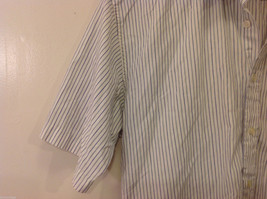 Marks & Spencer Men's Size L Shirt White Button-Down Blue Stripes Short Sleeves image 4
