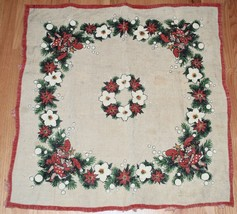 "VINTAGE SWEDISH NORWEGIAN JUTE CHIRSTMAS TABLECLOTH - SQUARE 33"" - TOMTE - $39.10"