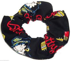 Betty Boop Biker Hair Scrunchie Scrunchies by Sherry Black Cotton Fabric - $6.99