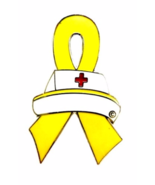 Yellow Awareness Ribbon Pin Nurse Cap Cancer Ca... - $10.97