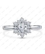 Flower Design 14K White Gold Fn Lab Created White Diamond Engagement Bri... - $64.99