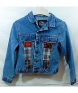 LEI Riding Wear Jean Jacket Blue Denim Plaid Tartan Inset Medium M 18 x ... - $24.74