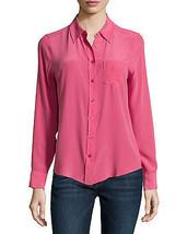 "Equipment ""Brett"" Silk Blouse, Slim fit, Single Pocket, Carmine / Pink, M, L - $85.50"