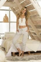 Mapale Ivory Crop Top & Grey Pant Set Pajama Lounge Sleepwear 7217 - $35.99