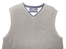 Tommy Hilfiger M Gray Knit V-Neck 100% Cotton Pullover Sleeveless Sweater Vest image 4