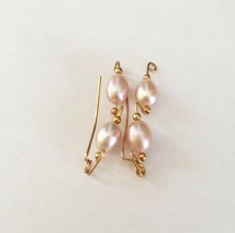 Gold Fill Ear Vine with Pink Beads Handmade - $6.66