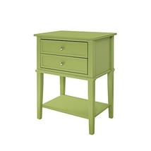 Contemporary Wood Accent Side Table with 2 Drawers and Lower Open Shelf ... - $144.37