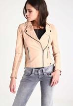 New Women's  Genuine Soft Lambskin Leather Fit Motorcycle  Biker Jacket -55